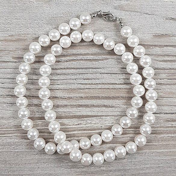 Shell Pearl, fehér, golyós, 8 mm, 50 cm-es nyaklánc