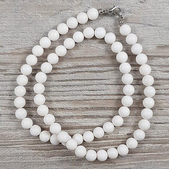 Shell Pearl, fehér, matt, golyós, 8 mm, 50 cm-es nyaklánc