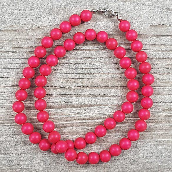 Shell Pearl, pink, matt, golyós, 8 mm, 50 cm-es nyaklánc