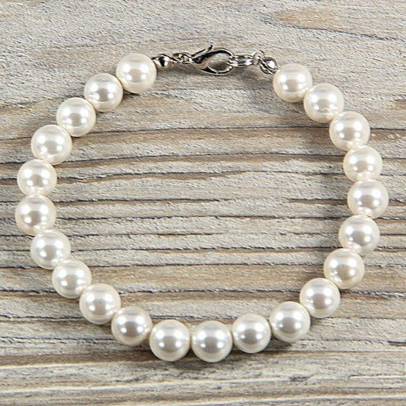 Shell Pearl, fehér, golyós, 8 mm, karkötő