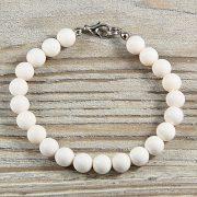 Shell Pearl, fehér, matt, golyós, 8 mm, karkötő