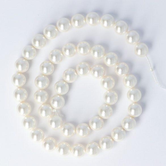 Shell Pearl alapanyagszál, fehér, golyós, 8 mm, kb. 38 cm