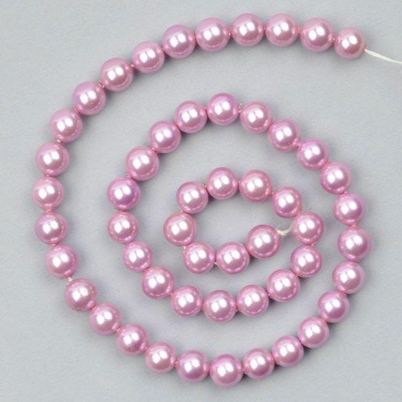 Shell Pearl alapanyagszál, világos lila, golyós, 8 mm, kb. 38 cm