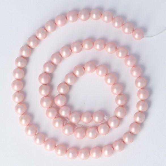 Shell Pearl alapanyagszál, rózsaszín, matt, golyós, 6 mm, kb. 38 cm