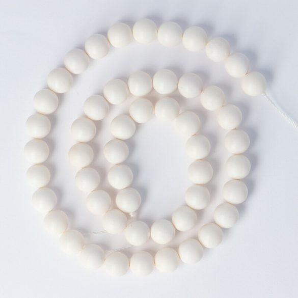 Shell Pearl alapanyagszál, fehér, matt, golyós, 8 mm, kb. 38 cm