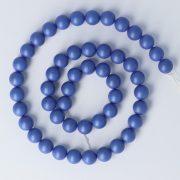 Shell Pearl alapanyagszál, kék, matt, golyós, 8 mm, kb. 38 cm