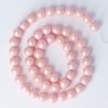 Shell Pearl alapanyagszál, rózsaszín, matt, golyós, 8 mm, kb. 38 cm