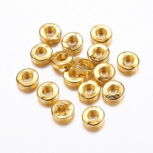 Köztes dísz, kerek-lapos, arany szín, kb. 6 mm (20 db)
