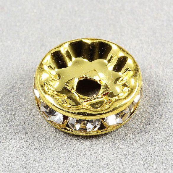 Rondella, arany, 10 mm, fehér (10 db)