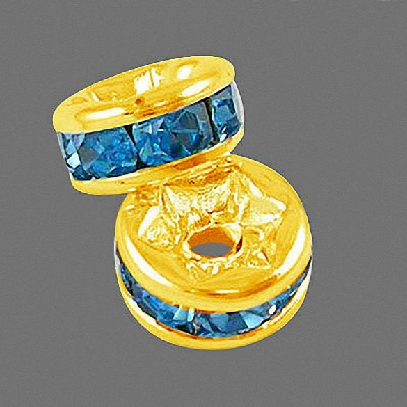 Rondella, arany, 6 mm, kék (10 db)