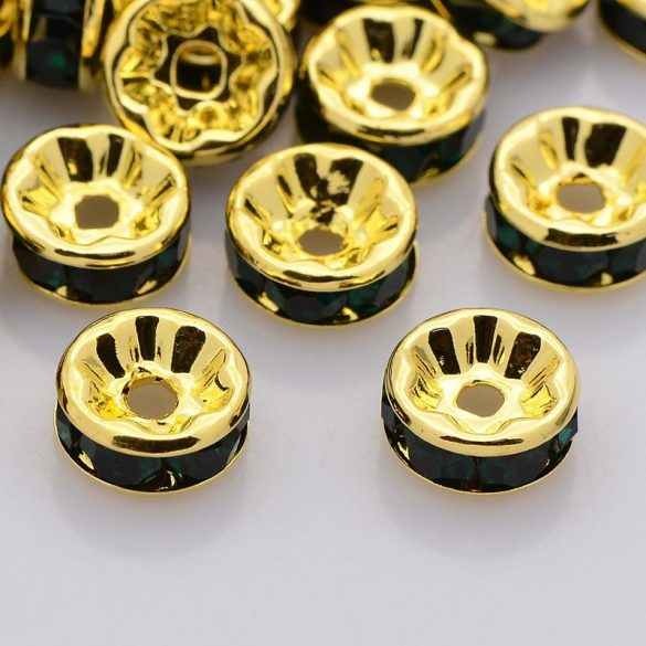 Rondella, arany, 8 mm, fekete (5 db)