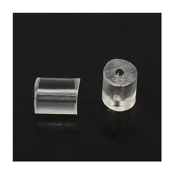 Fülbevaló hátlap, henger forma, műanyag (kb. 100 db)