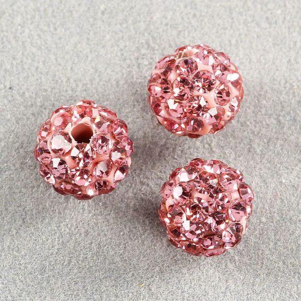 Shamballa golyó, rózsaszín, 6 mm (5 db)