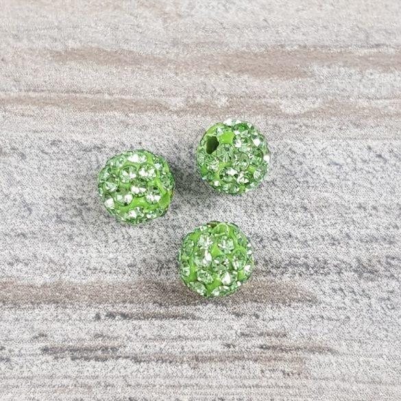 Shamballa golyó, zöld, 6 mm (5 db)