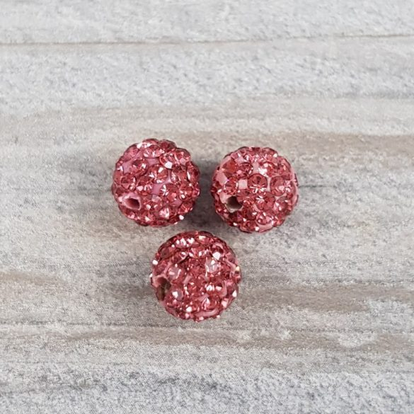 Shamballa golyó, pink, 8 mm (5 db)