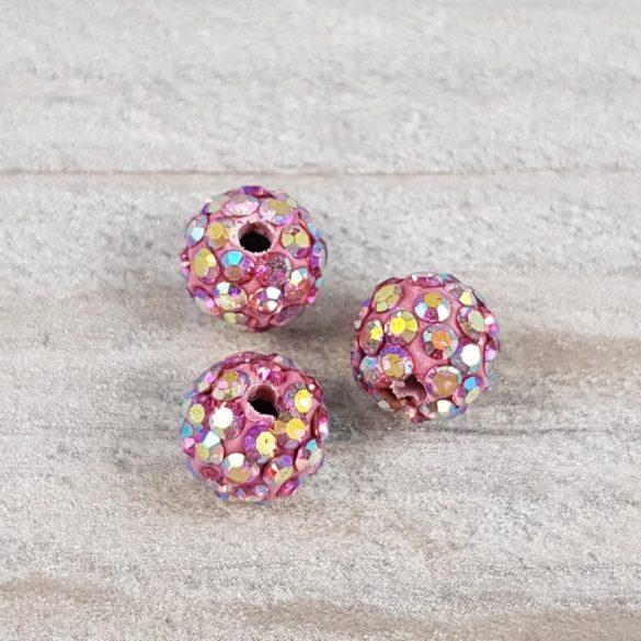 Shamballa golyó, pink AB, 8 mm (5 db)