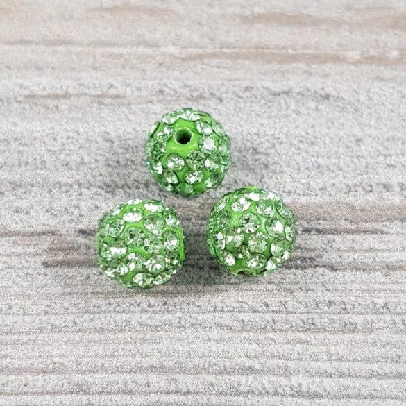 Shamballa golyó, zöld, 8 mm (5 db)