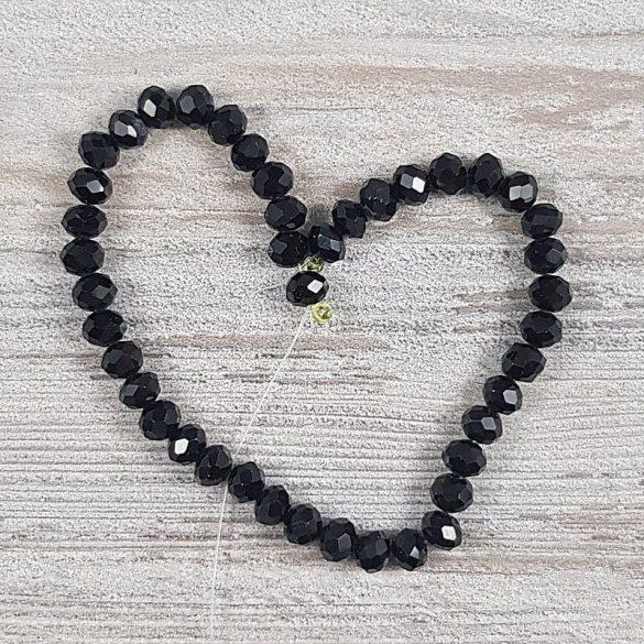 Köztes dísz, fazettált üveg, button, 6 mm, fekete (kb. 20 cm)