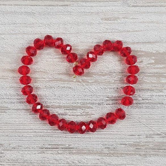 Köztes dísz, fazettált üveg, button, 6 mm, piros (kb. 20 cm)