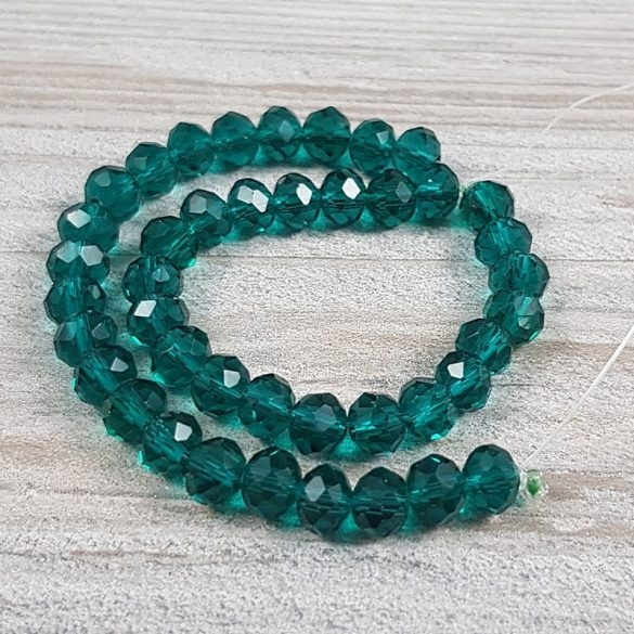 Köztes dísz, fazettált üveg, button, 6 mm, smaragdzöld (kb. 20 cm)