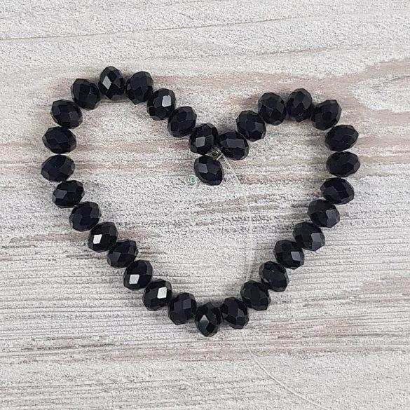 Köztes dísz, fazettált üveg, button, 8mm, fekete (kb. 20 cm)