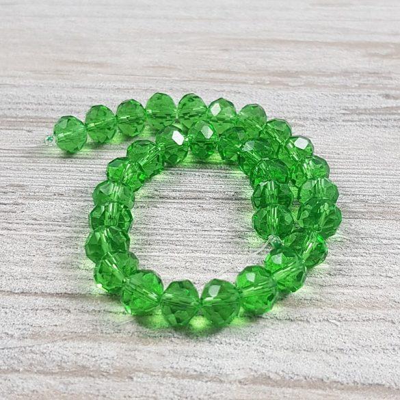 Köztes dísz, fazettált üveg, button, 8 mm, zöld (kb. 20 cm)