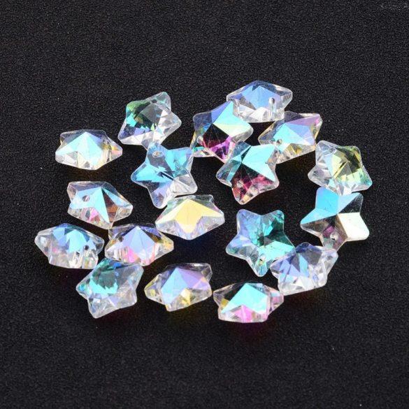 Fazettált üveg csillag fityegő, kb. 13 mm, AB szín (10 db)