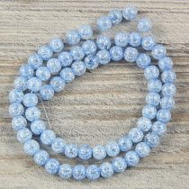 Köztes dísz, kék, roppantott üveg, golyós, 6 mm, kb. 38 cm