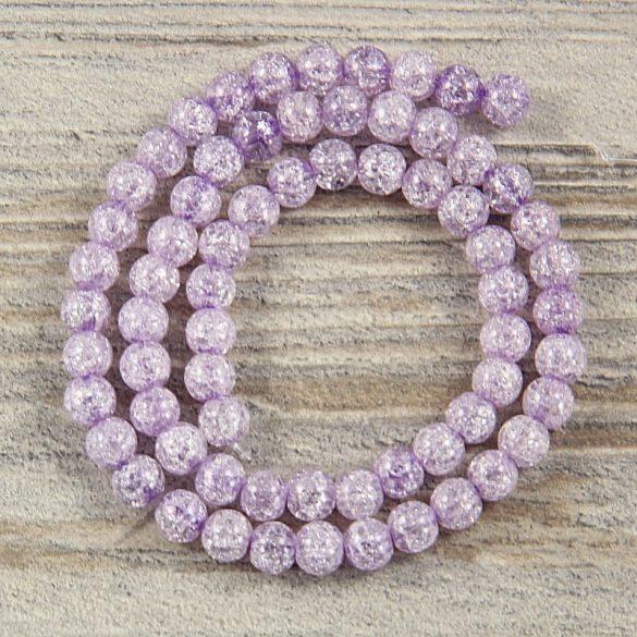 Köztes dísz, lila, roppantott üveg, golyós, 6 mm, kb. 38 cm