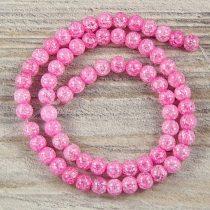 Köztes dísz, pink, roppantott üveg, golyós, 6 mm, kb. 38 cm