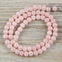 Köztes dísz, rózsaszín, roppantott üveg, golyós, 6 mm, kb. 38 cm