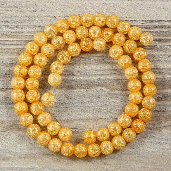 Köztes dísz, narancssárga, roppantott üveg, golyós, 6 mm, kb. 38 cm