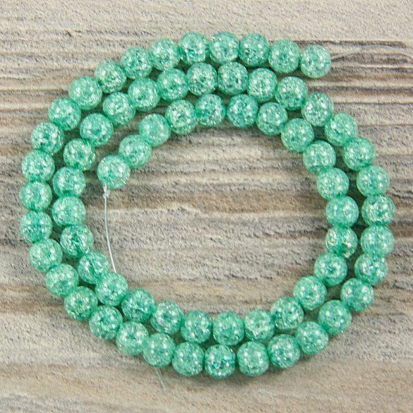 Köztes dísz, zöld, roppantott üveg, golyós, 6 mm, kb. 38 cm