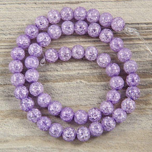 Köztes dísz, lila, roppantott üveg, golyós, 8 mm, kb. 38 cm