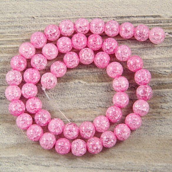 Köztes dísz, pink, roppantott üveg, golyós, 8 mm, kb. 38 cm