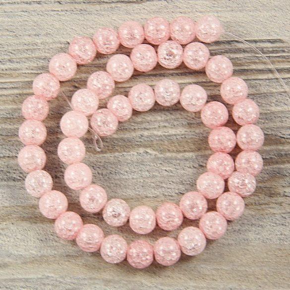 Köztes dísz, rózsaszín, roppantott üveg, golyós, 8 mm, kb. 38 cm