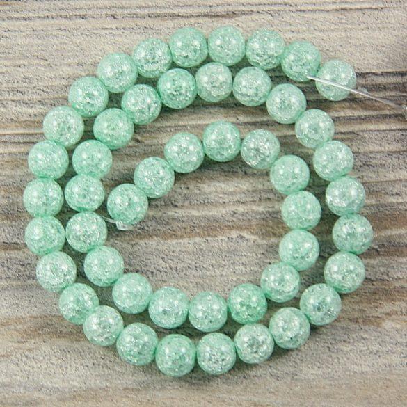 Köztes dísz, zöld, roppantott üveg, golyós, 8 mm, kb. 38 cm