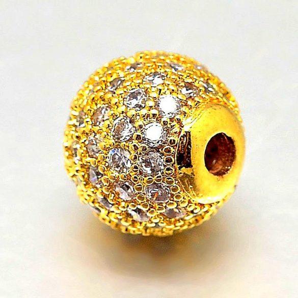 Köztes dísz, cirkónia köves, golyó, arany szín, 8 mm (1 db)