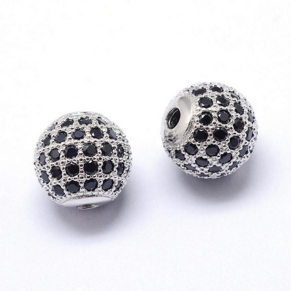 Köztes dísz, fekete cirkónia köves, golyó, platinum szín, 8 mm (1 db)