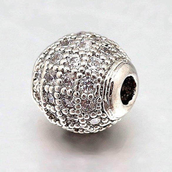 Köztes dísz, cirkónia köves, golyó, platinum szín, 8 mm (1 db)