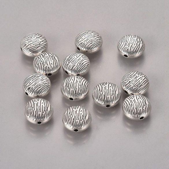 Köztes dísz, kerek-lapos, erezetes mintával, 10 mm (5 db)