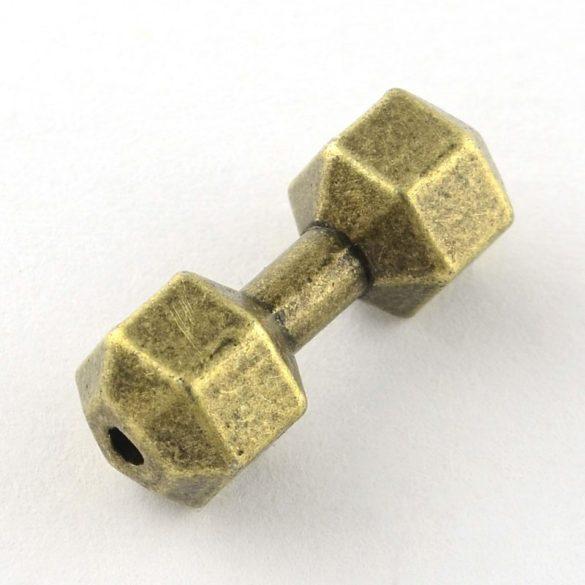 Köztes dísz, súlyzó, nagy, antikolt szín, kb.20 mm (1 db)