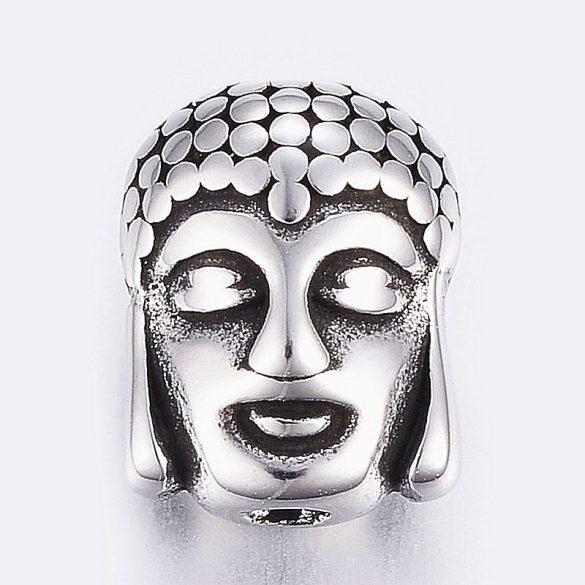 Nemesacél köztes dísz, Buddha fej (1 db)