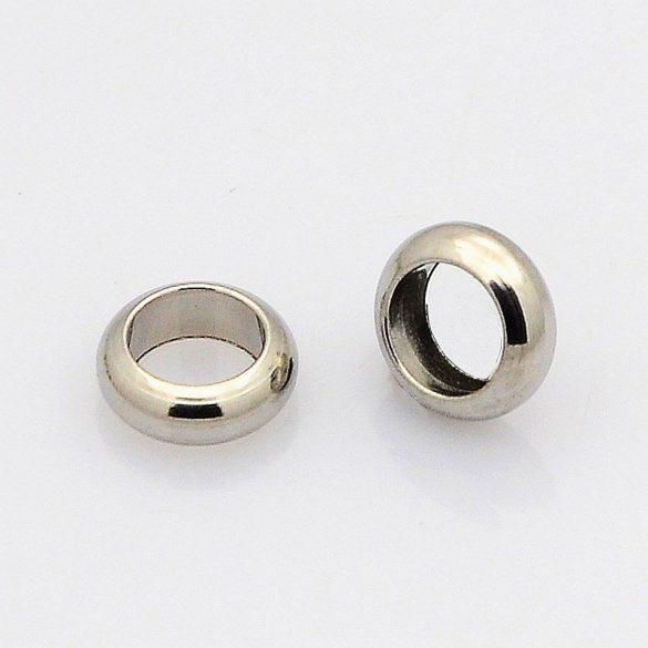 Nemesacél köztes dísz, gyűrű forma, kb. 6x2 mm (10 db)