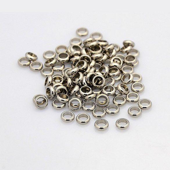 Nemesacél köztes dísz, gyűrű formájú, kb. 6x2 mm (10 db)