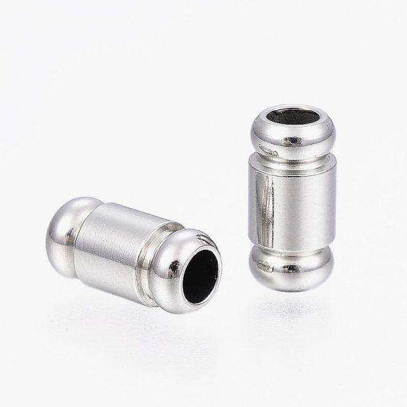 Nemesacél köztes dísz, henger, 2 butonnal a végén, kb. 10x5 mm (5 db)
