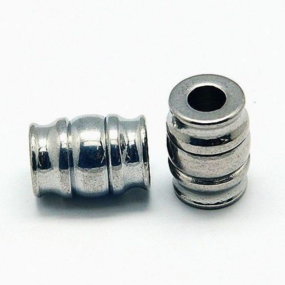 Nemesacél köztes dísz, henger, 3 részes mintával, kb. 11x15 mm (1 db)