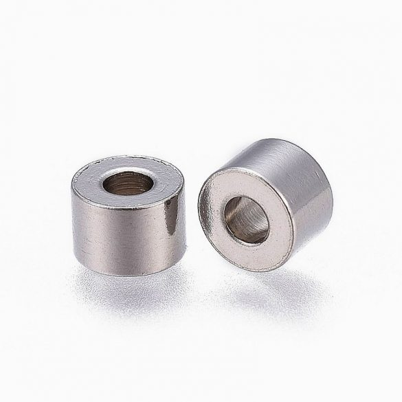 Nemesacél köztes dísz, henger, kb. 6x4 mm (10 db)
