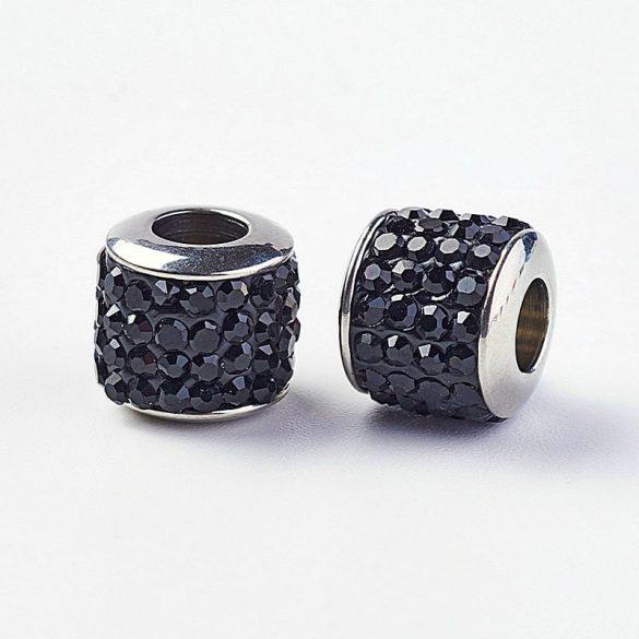 Nemesacél köztes dísz, henger, köves, fekete szín, kb. 10x10 mm (1 db)