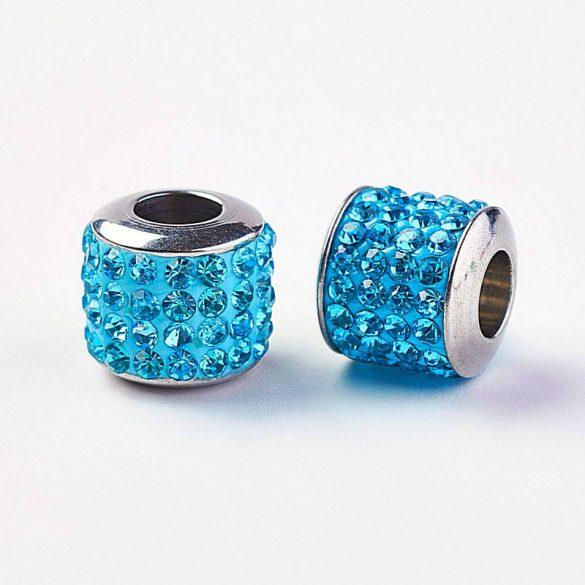 Nemesacél köztes dísz, henger, köves, kék szín, kb. 10x10 mm (1 db)